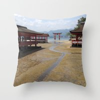 greg guillemin Throw Pillows featuring Itsukushima Shrine - Greg Katz by Artlala for MSF Doctors Without Borders