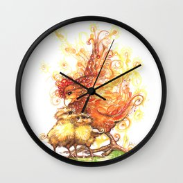 Hen and Chicks Wall Clock