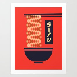 Ramen Japanese Food Noodle Bowl Chopsticks - Red Art Print