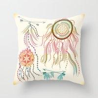 dream catcher Throw Pillows featuring Dream Catcher by famenxt