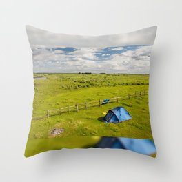 Camping tent and grass expanse Throw Pillow