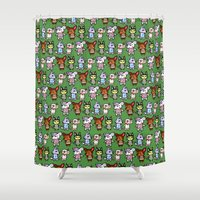 animal crossing Shower Curtains featuring Animal Crossing Design 2 by Caleb Cowan