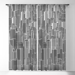 Tall city B&W inverted / Lineart city pattern Sheer Curtain