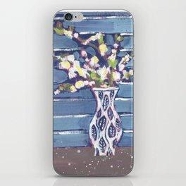 Blue Flowers in Vase iPhone Skin