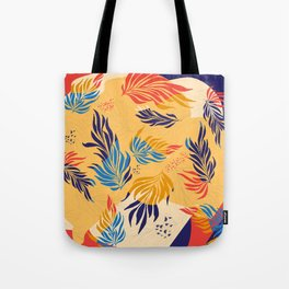 Primary Colors Leaves Tote Bag