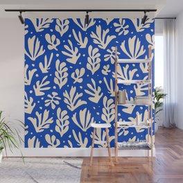 matisse pattern with leaves in blu Wall Mural
