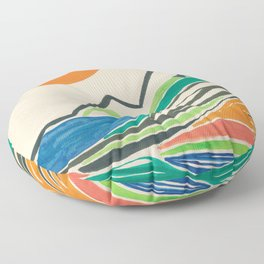 Landscape in many colours and lines Floor Pillow