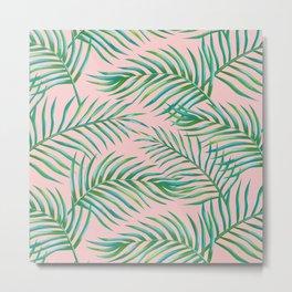 Palm Leaves_Bg Rose Quartz Metal Print