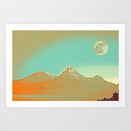 Full Moon over High Peak Art Print