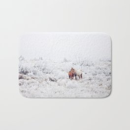 Two Winter Horses Bath Mat
