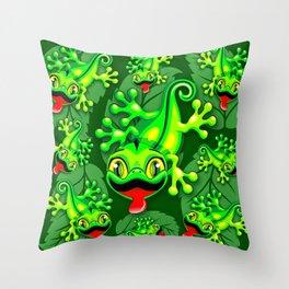 Gecko Lizard Baby Cartoon Throw Pillow