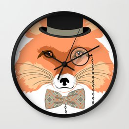 Fox with hat and monocle Wall Clock