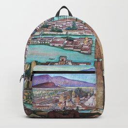 Mural of the Aztec city of Tenochtitlan by Diego Rivera Backpack