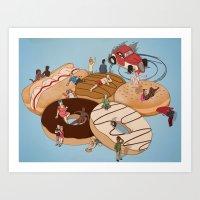 doughnut Art Prints featuring Doughnut Selection by Stephen Sharpe