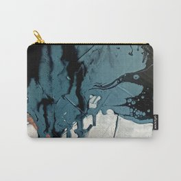 Fortune: A bold, minimal, abstract mixed-media piece in blue and black Carry-All Pouch