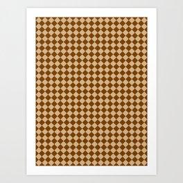 Tan Brown and Chocolate Brown Diamonds Art Print
