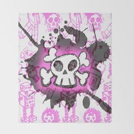 Pink Cartoon Skull Throw Blanket