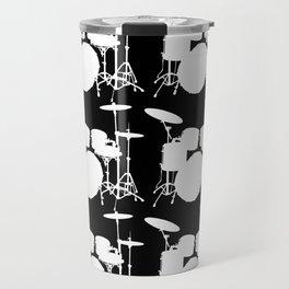 Drumset Pattern (White on Black) Travel Mug
