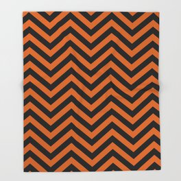 Black and Orange Chevron Pattern Throw Blanket