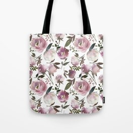 Modern hand painted ivory purple pink watercolor roses Tote Bag