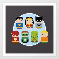 justice league Art Prints featuring Pixel Art - Justice League of America parody by Cloudsfactory