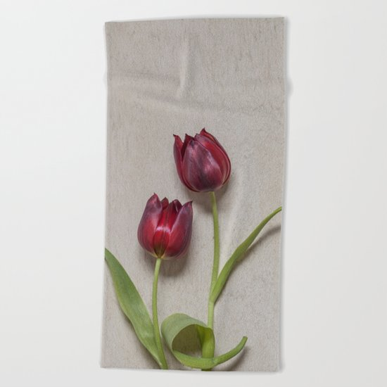 Two Red Tulips I Beach Towel