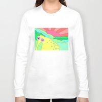 plain Long Sleeve T-shirts featuring Peaceful Stranger Happy Plain by PENARULIT