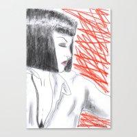 mia wallace Canvas Prints featuring Mia Wallace by Natália Damião
