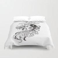 ying yang Duvet Covers featuring Ying and Yang Fishies by RizArtz