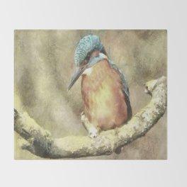Stunning Kingfisher In Watercolor Throw Blanket
