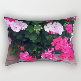 Pink And Magenta Flowers In Terra Cotta Pot Rectangular Pillow