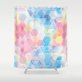 Hive: pink and blue hexagon pattern Shower Curtain