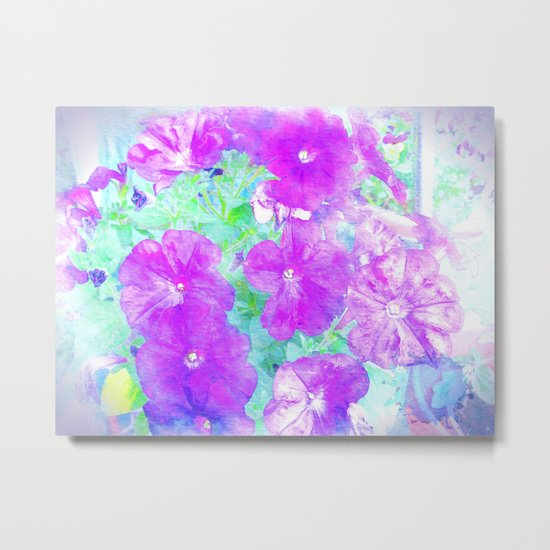 Watercolor Petunias Metal Print