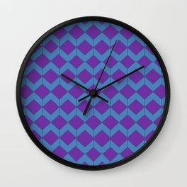 Purple Blue Moroccan Tile Pattern Wall Clock