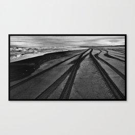 Tire Tracks on the Beach Canvas Print