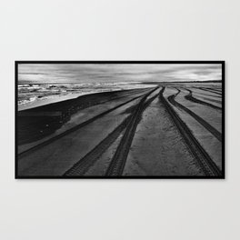 Tire Tracks on the Beach Canvas Print