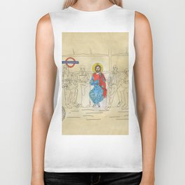 Jesus on the Tube, He is among us Biker Tank