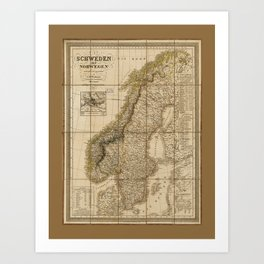Map of Sweden and Norway (1847) Art Print