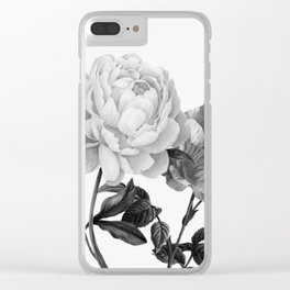 grayscale roses Clear iPhone Case