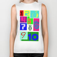 numbers Biker Tanks featuring FUNNY NUMBERS by Vivian Fortunato
