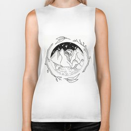 Moon Over Mountain Range Circular Botanical Illustration Biker Tank