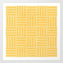 square lines - yellow Art Print
