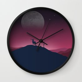 Lone Deer On A Bright, Cold Night Wall Clock