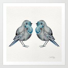 Little Blue Birds Art Print