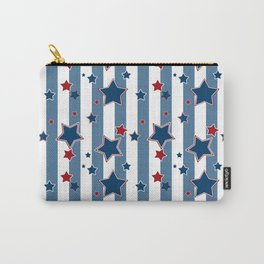 Red and blue stars on a striped background . Carry-All Pouch