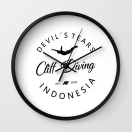 Cliff Jumping Shirt Indonesia Cliff Diver TShirt Devil's Tears Cliff Diving T Shirt Wall Clock
