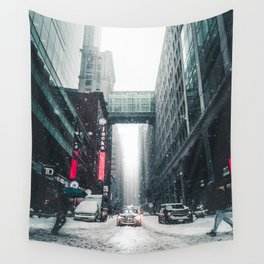 New york under the snow Wall Tapestry