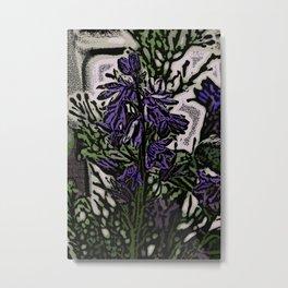 Bluebell Woodcut Metal Print