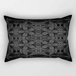Black Slate Gray Floral Pattern Rectangular Pillow