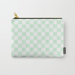 Small Checkered - White and Pastel Green Carry-All Pouch